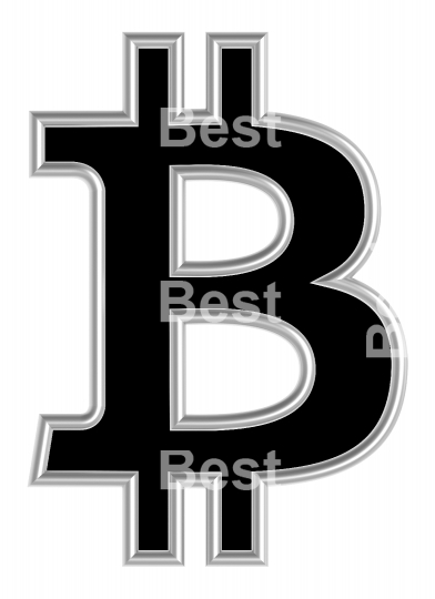 Bitcoin sign from black with silver shiny frame alphabet set, isolated on white