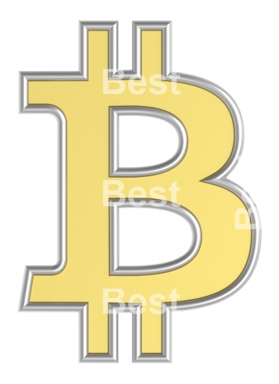 Bitcoin sign from yellow with silver shiny frame alphabet set, isolated on white