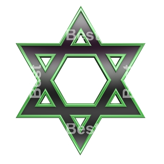 Black with green frame Judaism religious symbol