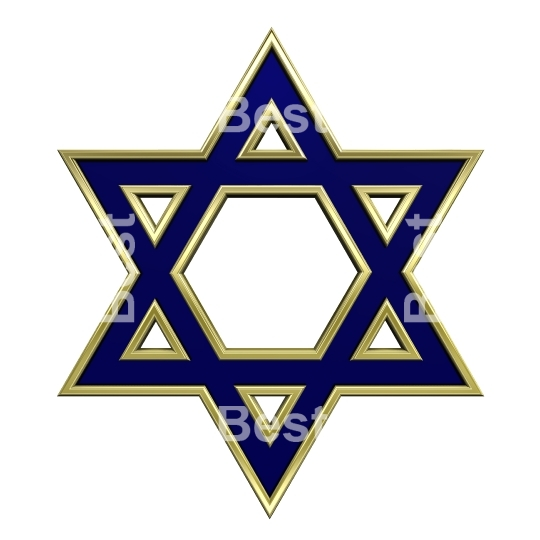 Blue with gold frame Judaism religious symbol