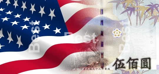 Flag of the United States with Taiwanese money