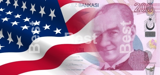 Flag of the United States with Turkish money