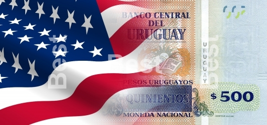 Flag of the United States with Uruguay money