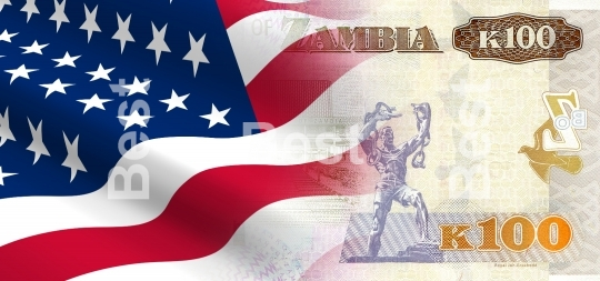 Flag of the United States with Zambian money