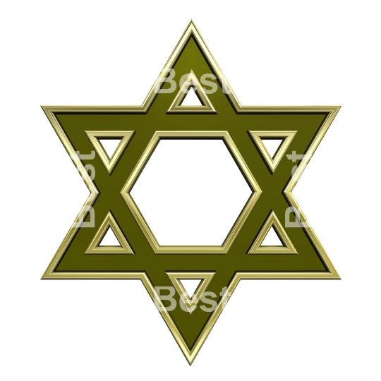 Green with gold frame Judaism religious symbol