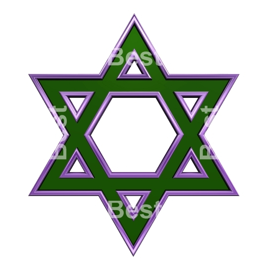 Green with purple frame Judaism religious symbol