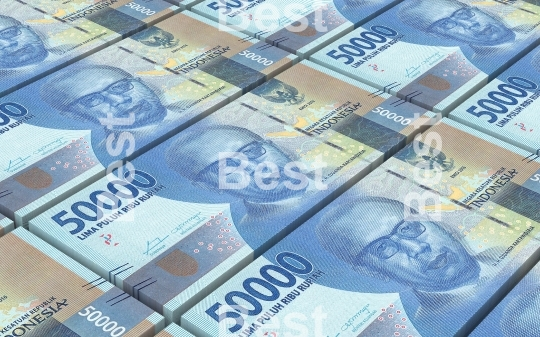 Indonesian rupiah bills stacks background
