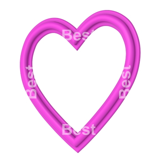 Pink heart picture frame isolated on white