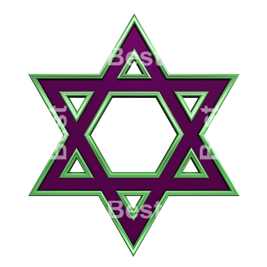 Purple with green frame Judaism religious symbol
