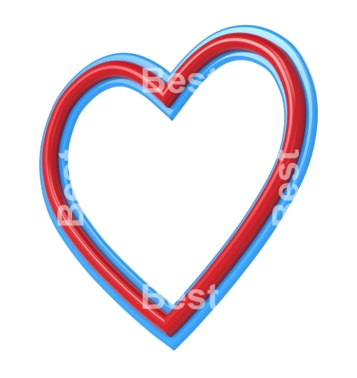 Red-blue heart picture frame isolated on white