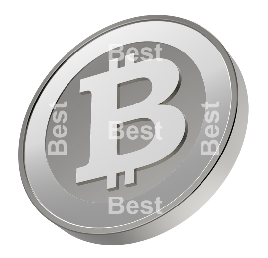 Silver bitcoin isolated on white