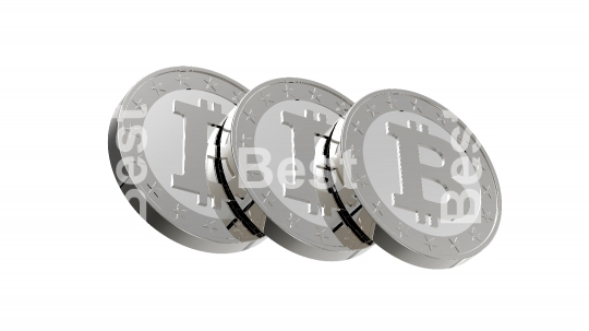 Silver bitcoins isolated on white