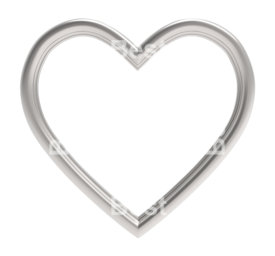 Silver heart picture frame isolated on white