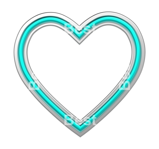 Silver-blue heart picture frame isolated on white