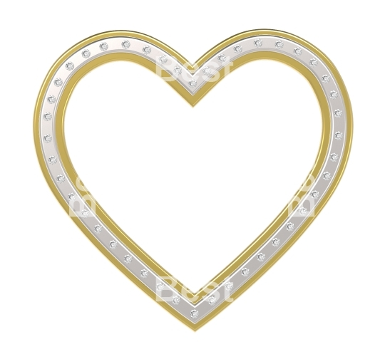Silver-gold heart with diamonds picture frame isolated on white