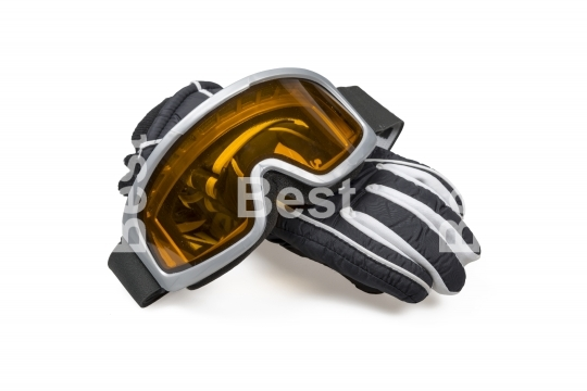 Ski gloves with goggles