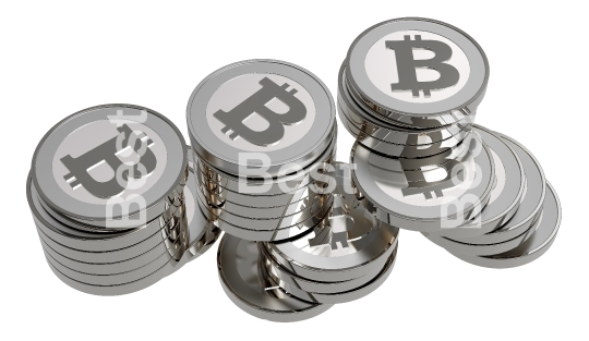 Stack of silver bitcoins isolated on white