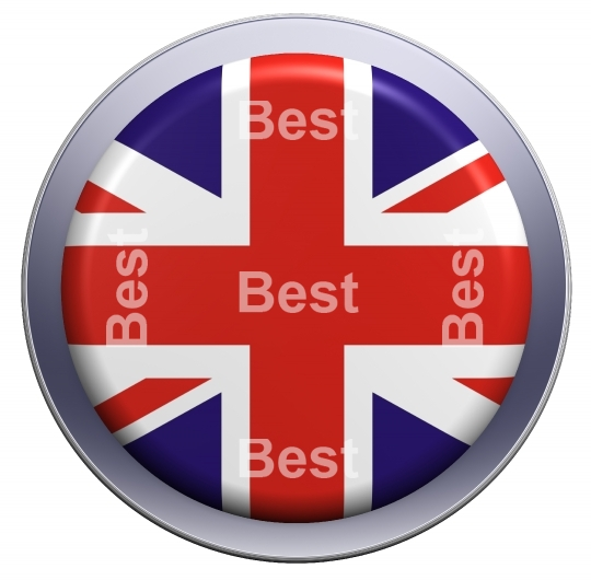 United Kingdom flag on the round button isolated on white.