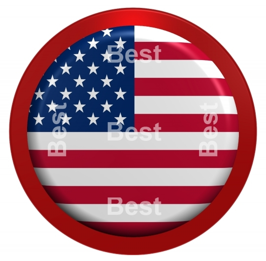 USA flag on the round button isolated on white.