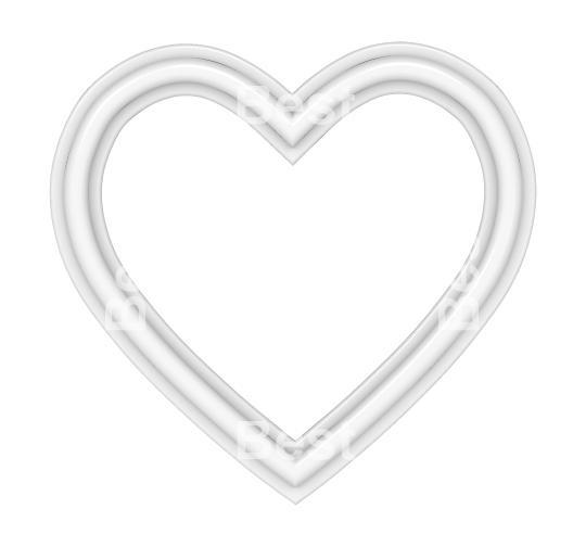 White heart picture frame isolated on white