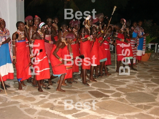 Entertainment of Masai men for tourists in Mombasa