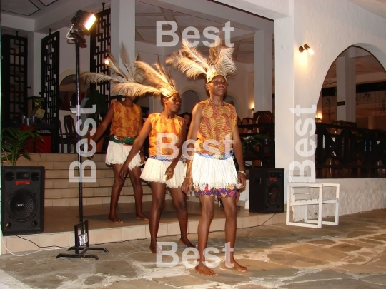 Entertainment Of Masai Traditional Dances For Tourists. Diani Resort (30 km south of Mombasa)