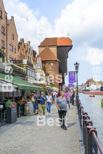 Promenade at the Motlawa River in Gdansk